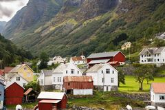 Village in Norway. Traditional wooden houses in Norwegian village Stock Photo