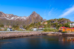 Village on the norwegian island Royalty Free Stock Photo