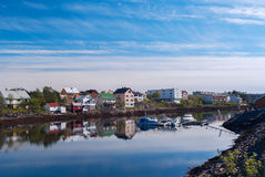Village on the norwegian island Royalty Free Stock Images
