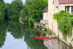 Village Noyers with river Serein Stock Photography