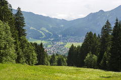 Village Oberammergau from above Royalty Free Stock Photos