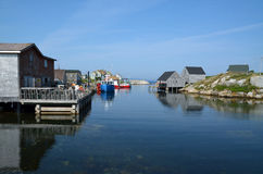Village by ocean. Small village by ocean in Peggy`s Cove, Nova Scotia Royalty Free Stock Images
