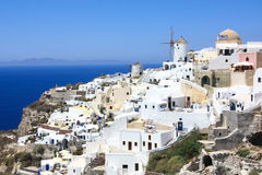 Village of oia. White washed houses and a maze of little streets of a popular touristic destination in santorini - oia (ia Stock Photos