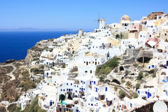 Village of oia. White washed houses and a maze of little streets of a popular touristic destination in santorini - oia (ia Royalty Free Stock Photos
