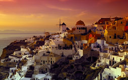 The village of Oia. Image shows the village of Oia on the island of Santorini, Greece Royalty Free Stock Photo