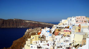 Village of Oia. Views of village of Oia in santorini island, Greece Stock Photos