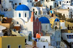 The village of Oia by day. Image shows the village of Oia on the beautiful Greek island of Santorini Royalty Free Stock Photos