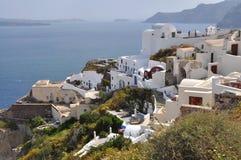 Village Oia on greek island Santorini. White houses of village Oia on greek island Santorini Stock Image