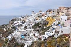 Village Oia on greek island Santorini. White houses of village Oia on greek island Santorini Stock Photos