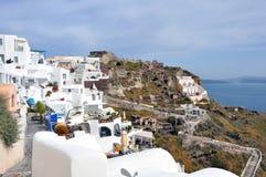 Village Oia on greek island Santorini. White houses of village Oia on greek island Santorini Royalty Free Stock Image