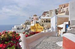 Village Oia on greek island Santorini. White houses of village Oia on greek island Santorini Royalty Free Stock Images