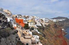 Village Oia on greek island Santorini. White houses of village Oia on greek island Santorini Stock Photo