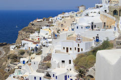 Village of Oia in Santorini, Greece. White architecture of the village of Oia in Santorini, Greece Royalty Free Stock Photography