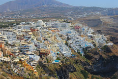 Village of Oia in Santorini with height. Top view of the village of Oia in Santorini Royalty Free Stock Images