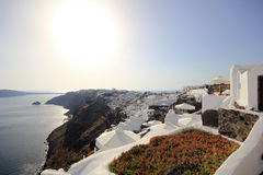 Village of Oia at Santorini island in the Cyclades Stock Photo