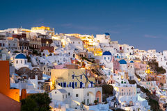 Village of Oia at twilight Stock Images