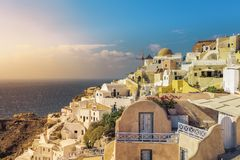 Village of Oia with white cave homes on Santorini Island Royalty Free Stock Photo