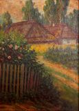 Village - oil painting Royalty Free Stock Images