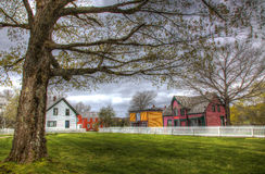Village with Old Buildings. A small village with old buildings and expansive lawns Royalty Free Stock Photography