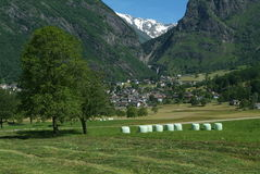The village of Olivone on Blenio valley Stock Photo