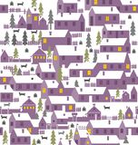 Village is a one-story houses, fences, firs, dogs and kennels Royalty Free Stock Image