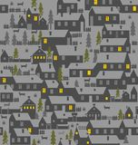 Village is a one-story houses, fences, firs, dogs and kennels Royalty Free Stock Photography