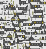 Village is a one-story houses, fences, firs, dogs and kennels Royalty Free Stock Photo