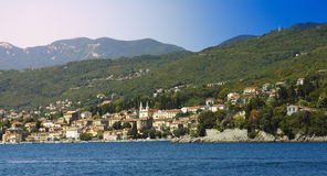 Village of Opatija. A view of the town and bay of Opatija on the Croatian coast. Opatija is also known as the Cote d'Azur of the Balkans Royalty Free Stock Images