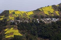 The village on the opposite side of the river, winding mountain path, in the terraced fields Stock Photos