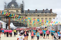 Runners in the village of the race La Parisienne 11 september 2016 at Paris France royalty free stock image