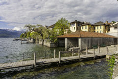 Village of Orta and the Island of San Giulio on Lake Orta, Italy Stock Photo