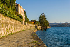 Village of Orta and the Island of San Giulio on Lake Orta, Italy Stock Images