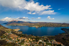 Village of Orta and the Island of San Giulio on Lake Orta, Italy Royalty Free Stock Photo