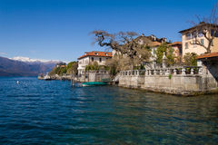 Village of Orta and the Island of San Giulio on Lake Orta, Italy Royalty Free Stock Image