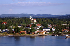 Village at Oslofjord stock images