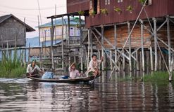 Village over water on Inle Lake, Myanmar Royalty Free Stock Photography