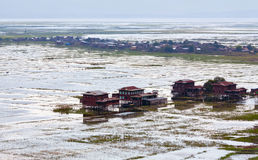 Village over water on Inle lake, Shan state, Myanmar Stock Images