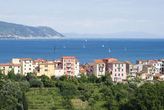 Village overlooking the sea royalty free stock images