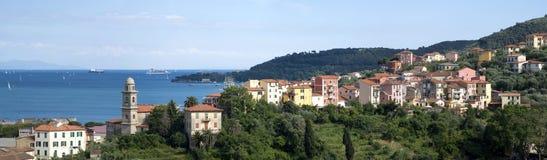Village overlooking the sea stock image