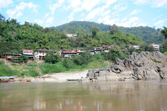 The village of Pak Beng on River Mekong Royalty Free Stock Photo