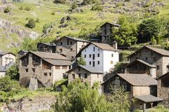 Village Pal in Andorra with the romanesque church. Village Pal in the Pyrenees in Andorra with the romanesque church Stock Photography