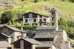 Village Pal in the Pyrenees in Andorra with the romanesque church. Village Pal in the Pyrenees in Andorra between France and Spain with the romanesque church Royalty Free Stock Photo