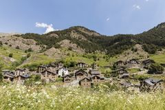 Village Pal in the Pyrenees in Andorra with the romanesque church royalty free stock images