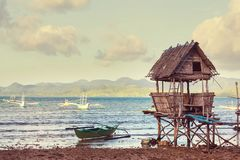 Village in Palawan. Traditional fishing village in Palawan island, Philippines Stock Photography