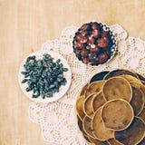 Village pancakes on wooden background on patterned napkins Royalty Free Stock Photo