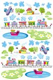 Village-pattern. Train and plane and ship seamless pattern. Vector illustration Stock Image