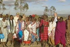Village people singing at sunset in village of Nairobi National Park, Nairobi, Kenya, Africa Stock Photos