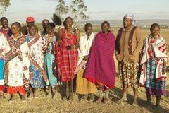 Village people singing at sunset in village of Nairobi National Park, Nairobi, Kenya, Africa Stock Photography