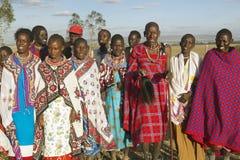 Village people singing at sunset in village of Nairobi National Park, Nairobi, Kenya, Africa Royalty Free Stock Images