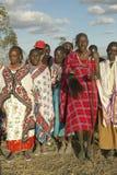 Village people singing at sunset in village of Nairobi National Park, Nairobi, Kenya, Africa Stock Image